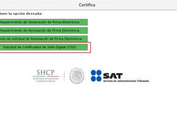 Tramite Solicitud de Certificados de Sello Digital (CSD)